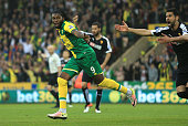 Dieumerci Mbokani of Norwich City celebrates scoring his team's second goal during the Barclays Premier League match between Norwich City and Watford...