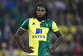 Dieumerci Mbokani of Norwich City looks dejected during the Barclays Premier League match between Norwich City and Watford at Carrow Road on May 11...
