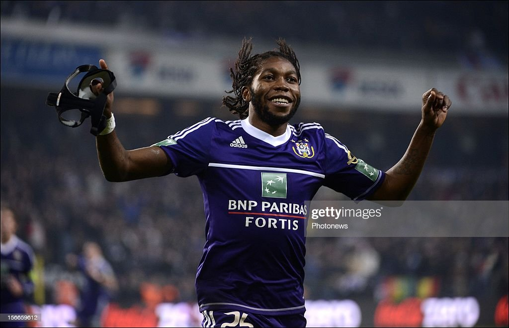 Dieumerci Mbokani of RSC Anderlecht celebrates during the Jupiler League match between RSC Anderlecht and KV Kortrijk on November 18, 2012 in Anderlecht, Belgium.