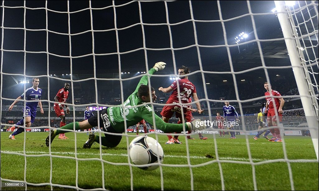 Dieumerci Mbokani of RSC Anderlecht scores during the Jupiler League match between RSC Anderlecht and KV Kortrijk on November 18, 2012 in Anderlecht, Belgium.