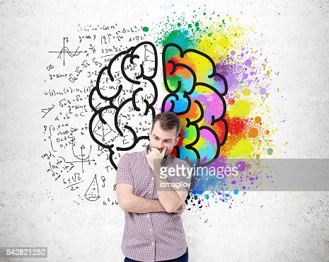 Different brain sides on wall : Foto de stock