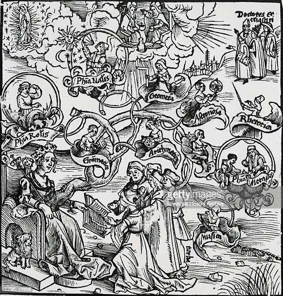 Different branches of philosophy Woodcut 1508