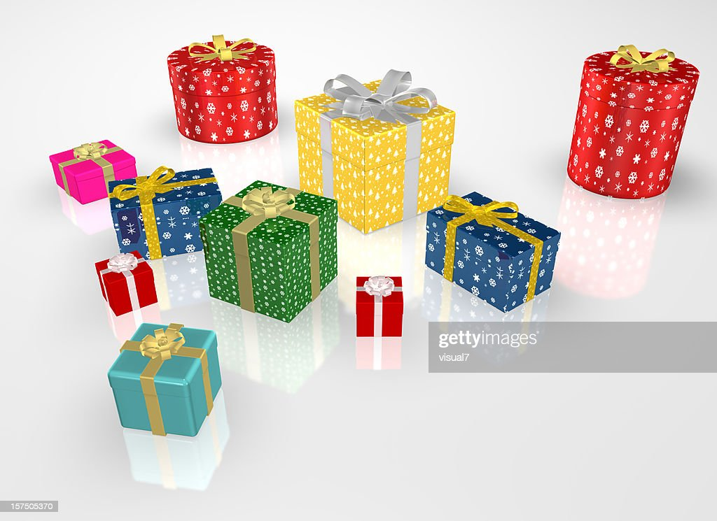 different Christmas Presents with Bow : Stock Photo