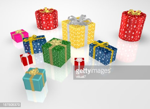 different Christmas Presents with Bow : Stockfoto