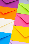 Different colored envelopes on the table