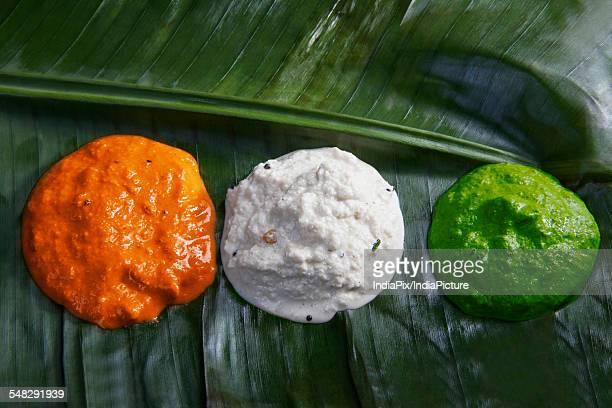Different coloured chutney