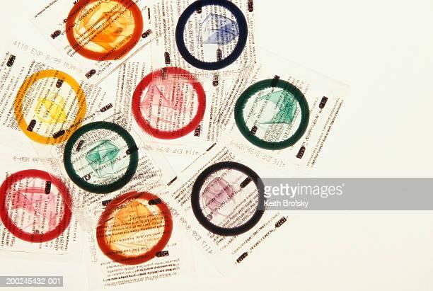 9 different coloured condoms