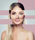 Different faces of young woman. Plastic surgery concept. Blonde and brunette woman, green and blue eyes, collage of two female faces.