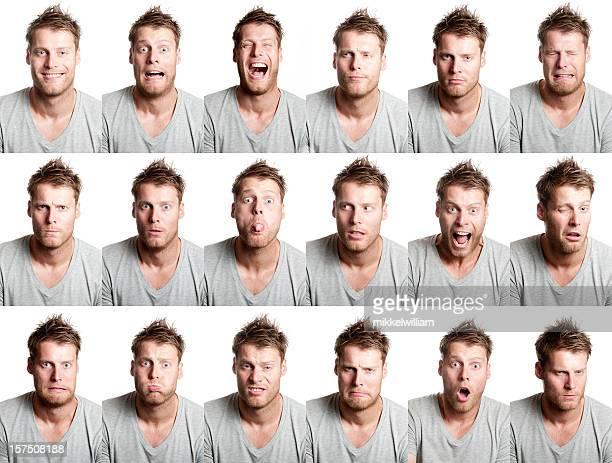 18 Verschiedene Gesichtsausdruck von gut aussehenden Mannes mit Bart,