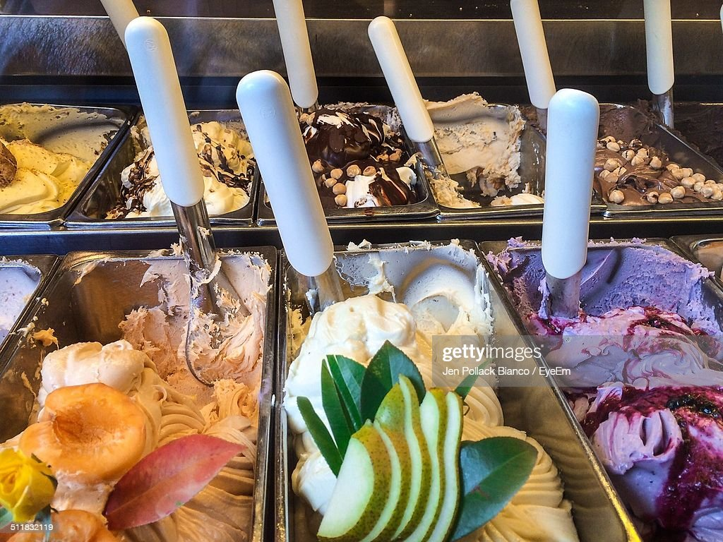Different flavors of gelato displayed at store