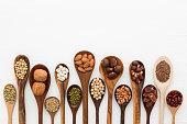 Different kind of beans and lentils in wooden spoon on white wood background. mung bean, groundnut, walnuts, macadamia, almond, soybean, red kidney bean, black bean, sesame, corn, red bean and brown p