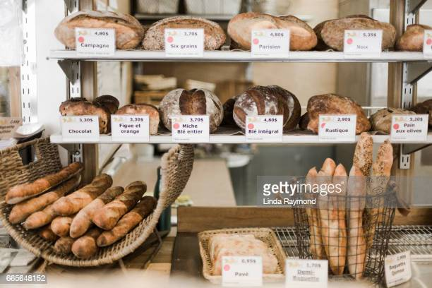 Different kinds of bread in a bakery