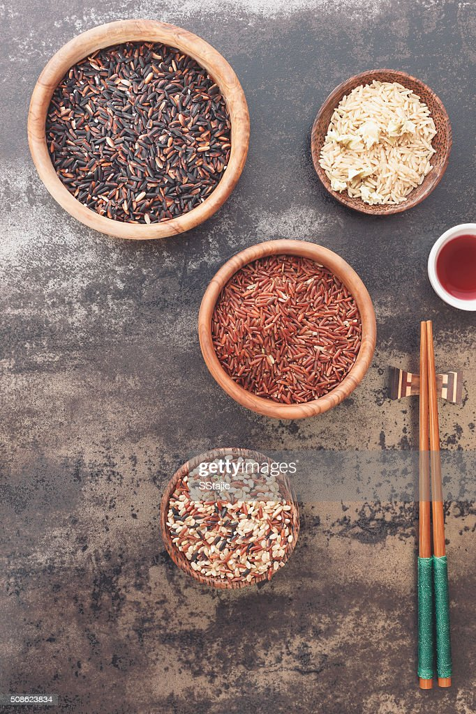 Different kinds of rice and chopstick : Stock Photo
