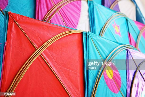 Different kites kept for sale