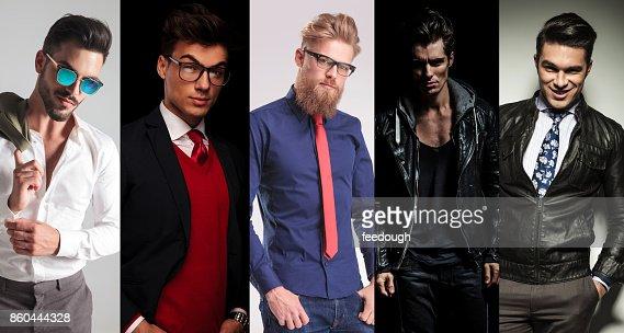 5 different men posing in studio : Stock Photo