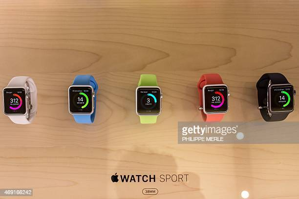 Different models of the Apple Watch are displayed in the Apple Store in Lyon centraleastern France on April 10 2015 Tech fans got their first look on...