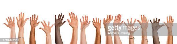 Verschiedene natioanlity Hände winken in die Kamera