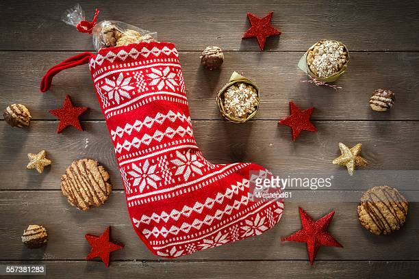 Different oat pastries, Santa Claus boot and Christmas decoration