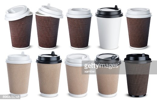 Different paper coffee cup isolated on white background. Mock up : Stock Photo