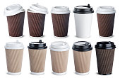 Different paper coffee cup isolated on white background. Mock up collection