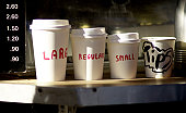 Different sizes of takeaway coffee container