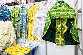 Different solemn slavic orthodox priest's vestments