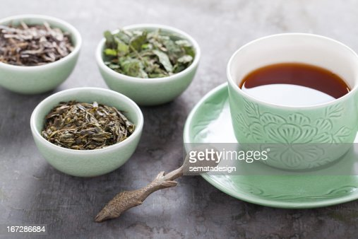 Different sorts of green tea : Stock Photo