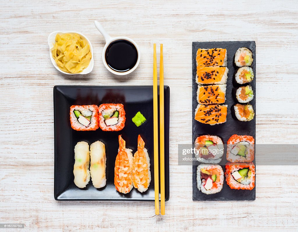 Different Sushi Types with Soy Sauce and Gari : Stock Photo