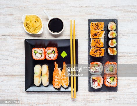 Different Sushi Types with Soy Sauce and Gari : Stock-Foto