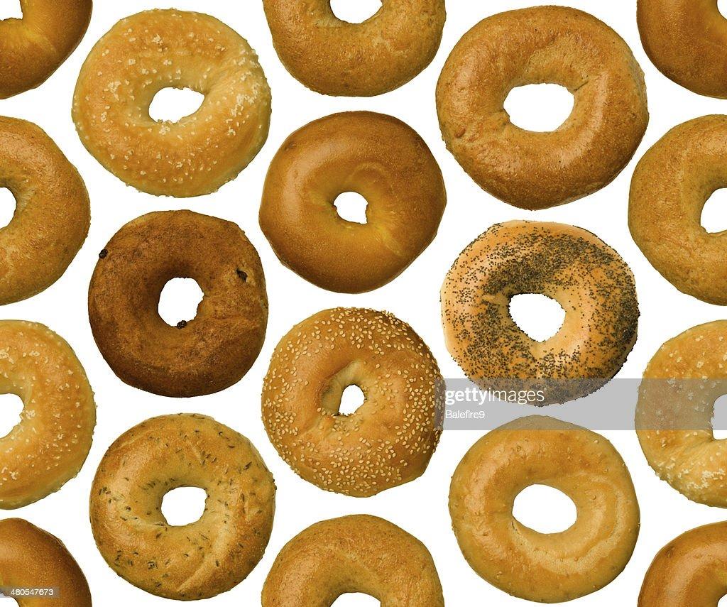 Diferentes tipos de bagels, perfeitamente tileable : Foto de stock