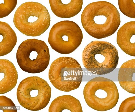 Different types of bagels, seamlessly tileable : Stock Photo