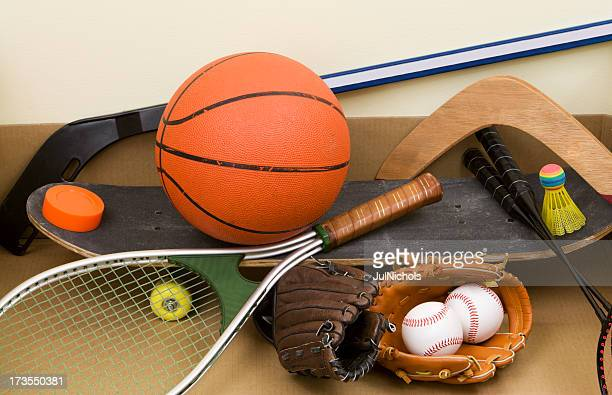 Different types of different sports equipment and balls