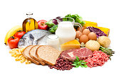 Large group of different types of food like carbohydrates, protein and dietary fiber isolated on white background. Food included in the composition are dairy products, sausages, minced meat, fish, bre