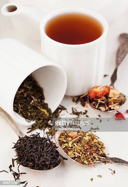 Different types of tea leaves in spoons and cup