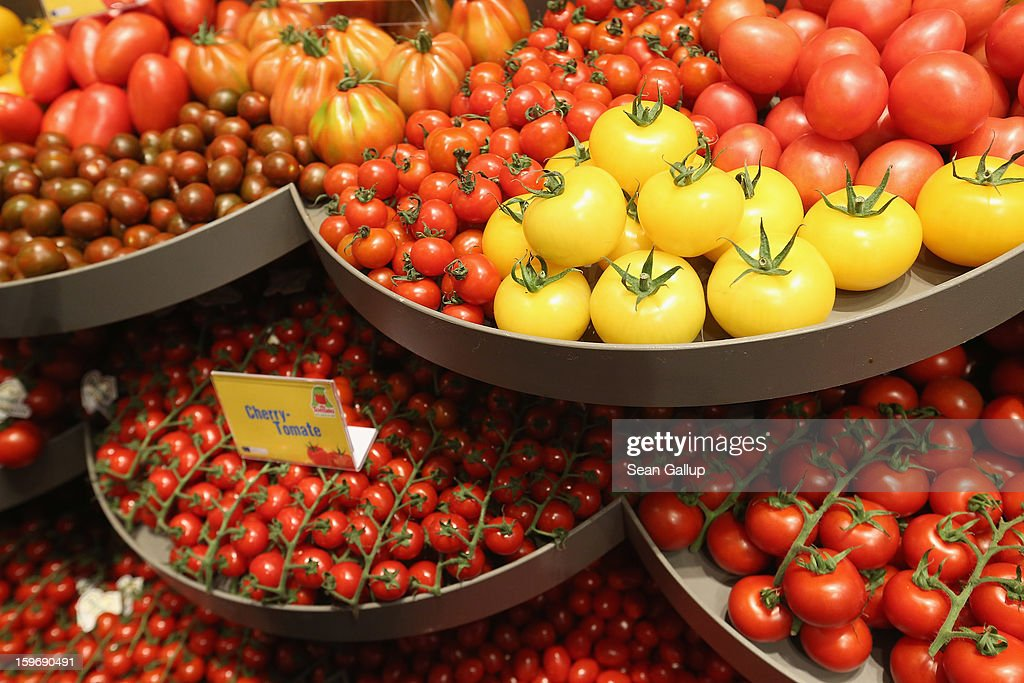 Different types of tomatoes from Holland lie on display at a Dutch vegetable stand at the 2013 Gruene Woche agricultural trade fair on January 18, 2013 in Berlin, Germany. The Gruene Woche, which is the world's largest agricultural trade fair, runs from January 18-27, and this year's partner country is Holland.
