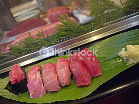 Different Types Of Tuna Maguro Sushi Set Stock Photo Thinkstock