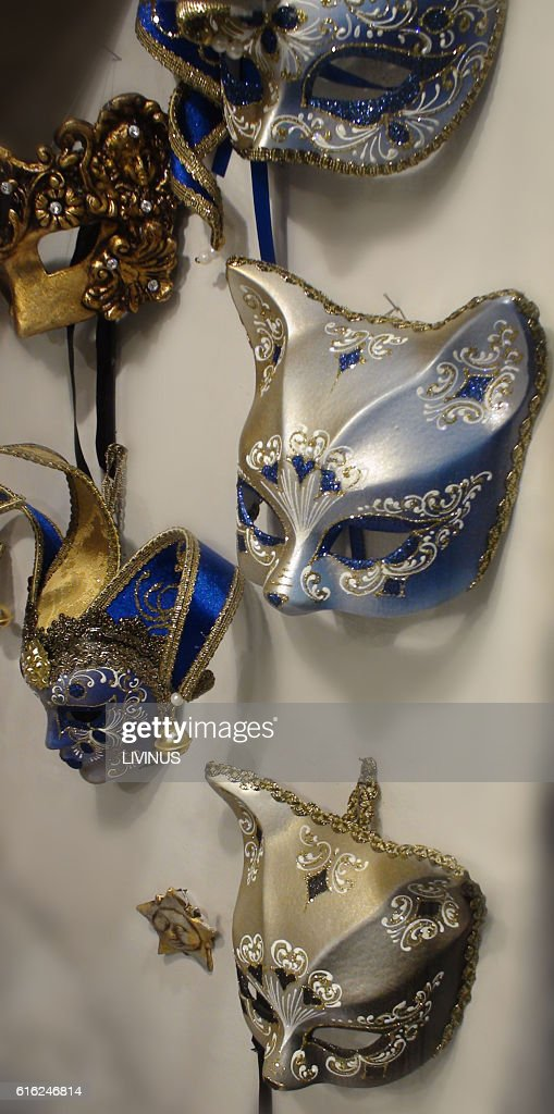 Different Types Of Venice Carnival Mask : Stock Photo