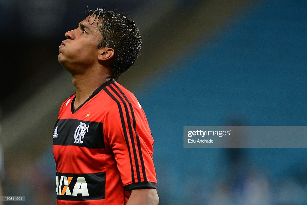 Digao of Flamengo during the match between Gremio and Flamengo for the Brazilian Series A 2013 at Arena Gremio Stadium on November 17, 2013, in Porto Alegre, Brazil.