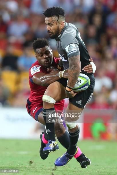 Digby Ioane of Crusaders runs the ball during the round three Super Rugby match between the Reds and the Crusaders at Suncorp Stadium on March 11...