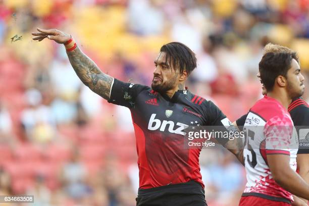 Digby Ioane of the Crusaders celebrates a try during the Rugby Global Tens match between Crusaders and Reds at Suncorp Stadium on February 11 2017 in...