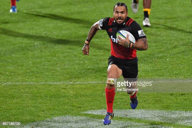 Digby Ioane of the Crusaders runs through to score a try during the round five Super Rugby match between the Crusaders and the Force at AMI Stadium...
