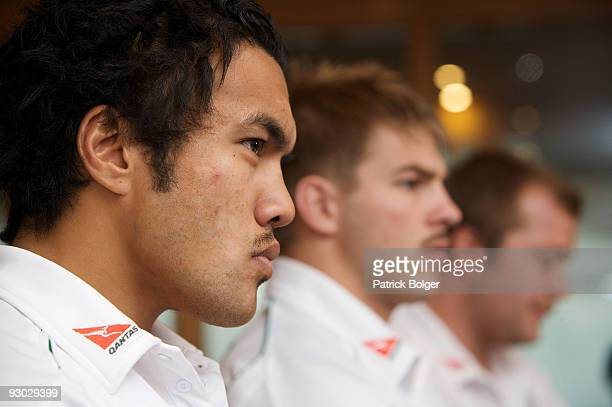 Digby Ioane sits beside Drew Mithcell and Ben Robinson during the Australia press conference at the Burlington Hotel on November 13 2009 in Dublin...