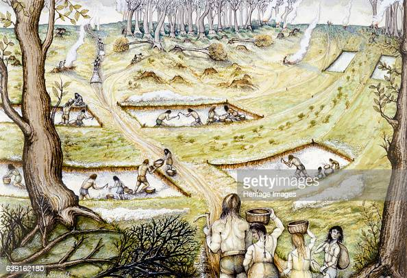 Digging defence ditches c5th century BC Reconstruction drawing showing people digging defence ditches Iron Age hill fort in the English county of...