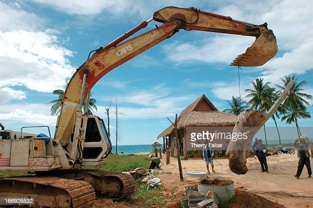 A digging machine is pulling a log to be used a decoration in front of a rebuilt resort