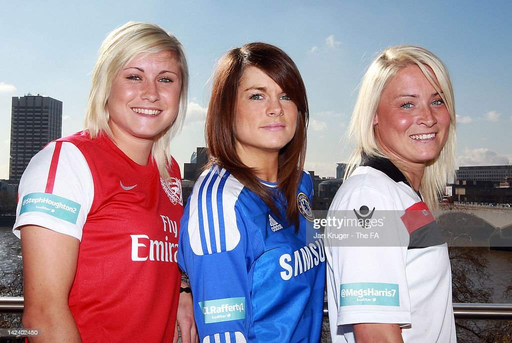 FA WSL Digital Ambassadors Megan Harris of Lincoln Ladies Claire Rafferty of Chelsea Ladies and Steph Houghton of Arsenal Ladies pose during the FA...