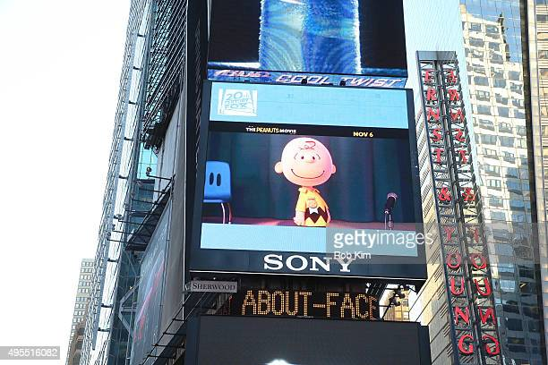 A digital billboard screen in Times Square of Charlie Brown from 'The Peanuts Movie' near the NASDAQ MarketSite on November 3 2015 in New York City