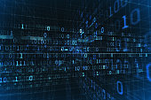 Digital Binary Bits flying through virtual Network