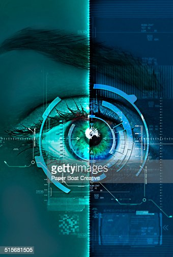 digital blue and green scan of a woman's eye : Stock Photo
