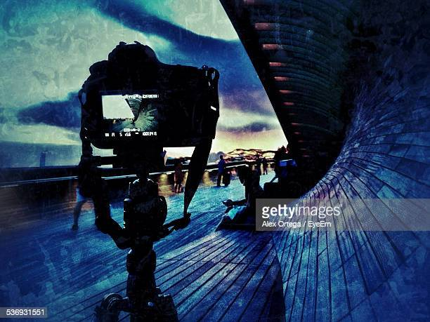 Digital Camera On Tripod At Henderson Waves Bridge At Dusk