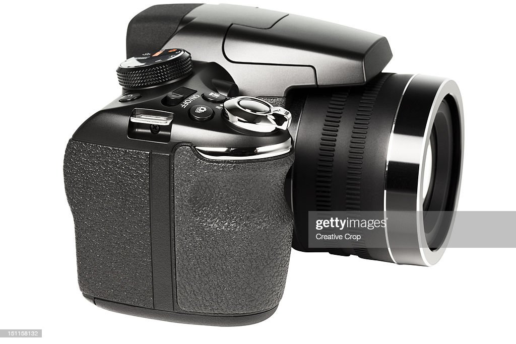 Digital camera with flash : Stock Photo